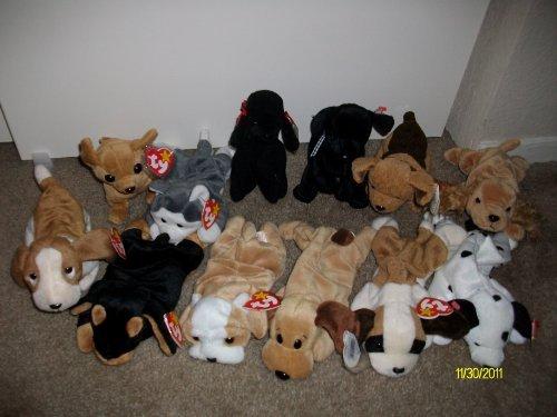 Set of 12 Dog/Puppy Beanie Baby's-(Tracker,Spunky,Dotty,Bones,Wrinkles,Tuffy,Doby,Luke,Nanook,GiGi,Tiny,Bernie)