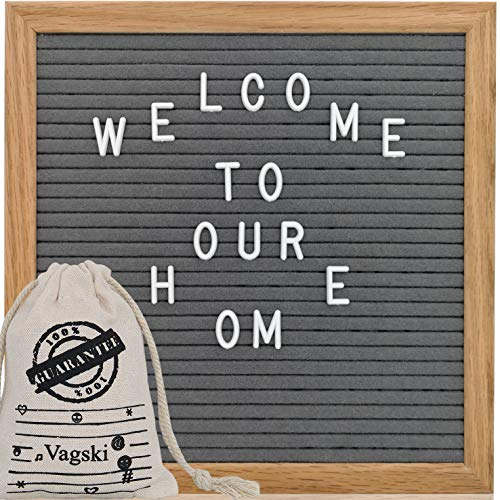 Gray Felt Letter Board 10x10 inch with Personalized Letters, Changeable Letter Boards Including 340 Letters, Imported Oak Wooden Frame, Mounting Hook, Free Canvas Letter Bag VAG040