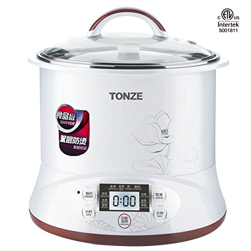 TONZE DGD22-22EG Healthy Smart 3 Ceramic Pot Electric Stew Pot, Slow Cooker Soup Maker, White, 2Qt/400W (Electric Cooker Soup compare prices)
