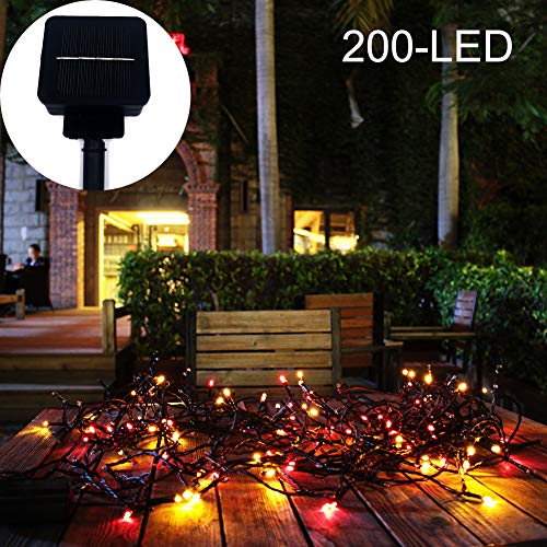 Tiuanh Solar Patio Lights 200 Led Hanging Solar Lights Outdoor Solar String Lights 65Ft Create Ambience for Your Patio,Porch,Yard,Garden