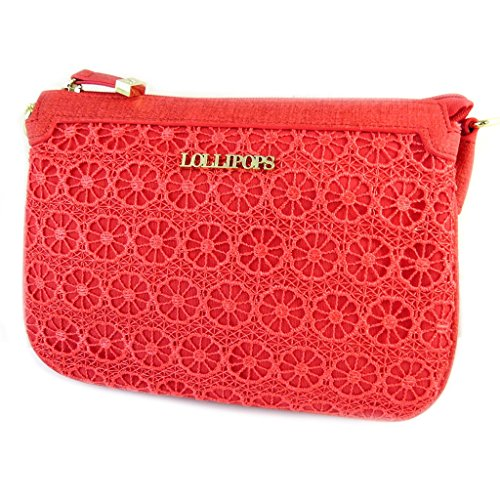 French Touch Bag Lollipopspizzo Rosso 3 Scomparti - 22x15x5 Cm