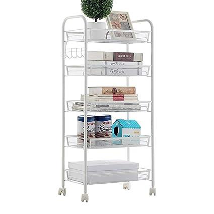 MARCU HOME Carrito móvil de acero inoxidable con rejilla de cocina en la rejilla refrigerador estante