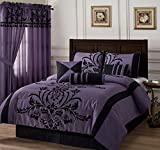 Chezmoi Collection 7-piece Black Violet Flocked Floral Faux Silk Bedding Comforter Set (King)