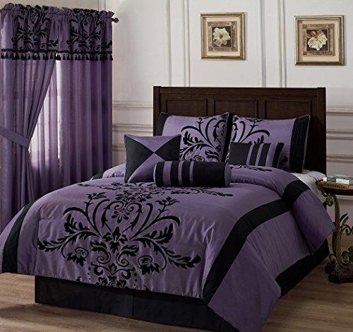 Chezmoi Collection 7-piece Black Violet Flocked Floral Faux Silk Bedding Comforter Set (California King) Silk California Bed Ensemble
