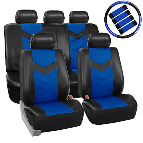 - FH Group LIMITED TIME ONLY 30% off PU021115 Synthetic Leather Full Set Auto Seat Covers w. Steering Wheel Cover & Seat Belt Pads + FREE GIFT, Blue Black Color