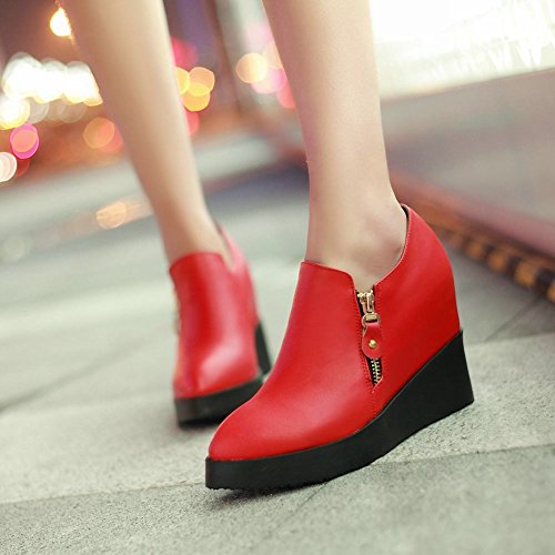 Latasa Womens Chic Zipper Pointed-toe Platform High Wedge Heel Ankle High Fall Shoes Boots Red DXexXK5d