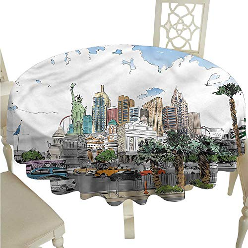 Fabric Tablecloth USA,Las Vegas Street Sketchy Table Cover Round Tablecloth D ()