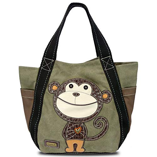 - Carryall Zip Tote - Monkey in Olive By Chala