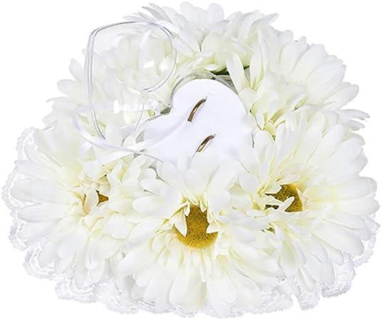 Marguerite blanche tournesol jaune Coussin doreiller de bague de mariage bo/îte /él/égante de support de bijoux de porteur de bijoux de forme de coeur /él/égante en forme de coeur