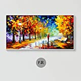 SUMIANYH Oil Paintings On Canvas Hand Painted, Home Selections Decoration Rainy Bench, Parasol Hand Painted Oil Painting Large Canvas Art Modern Canvas Picture for Home Decor-150×300Cm(60×120Inch)