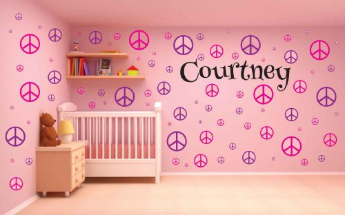 100 Peace Sign Wall Decal - Nursery Wall Decal - Teen Name Wall Decals - Personalized Wall Decals