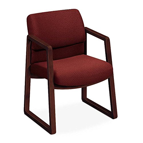 eries Guest Arm Chair, Mahogany Finish, Burgundy Fabric (Series Burgundy Fabric Mahogany Frame)