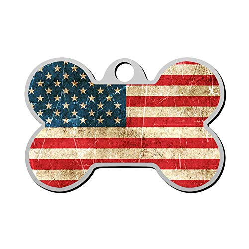 (GPZHM Customized American Flag Pet Tag - Bone Shaped Dog Tag & Cat Tags Pet ID Tag Personalized Custom Your Pet's Name & Number 3D Printing)