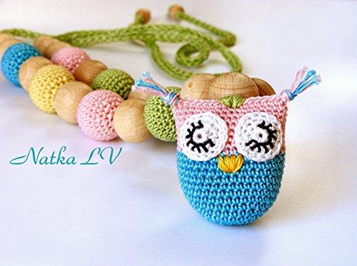 Owl nursing necklace, teething necklace, breastfeeding necklace, natural, eco friendly, wood cotton, pastel rainbow, unisex teething toy