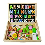 jigsaw puzzle board with drawers - Wooden Alphabet Magnets Magnetic Drawing Board Game Letters Number Style Double Side Jigsaw Puzzle Box Montessori Play Set for Kids Boys Girls Children 3 Years Old