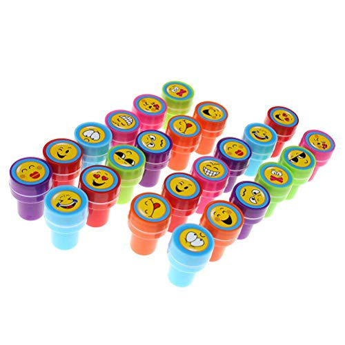 Jiabetterniu 24Pcs Self Inking Stamps Plastic Toy Stamp Set Multi Colour Bright Smiley Expression Ink Stamps Baby DIY Craft Funny Children Party Gifts,Teacher Stamps