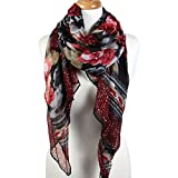 Scarfand's Artistic Painting Romantic Rose Long Scarf Wrap/Shawl (Black with Burgundy Rose)