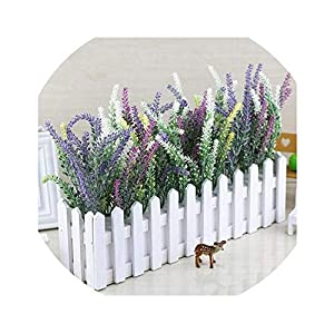 Lucky-fairy Artificial-Flowers17 Kinds Artificial Lavender Flower with Wooden Fence Vase Set Silk Flowers Home Kindergarten Window Decoration Birthday Gift,A 37