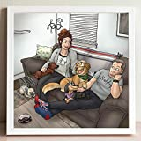 Personalized Cartoon Portrait Of Me And my Pet - Funny Long Distance Relationship Gifts For Dogs Owners - Whimsical I Miss You Keepsake For Girlfriend