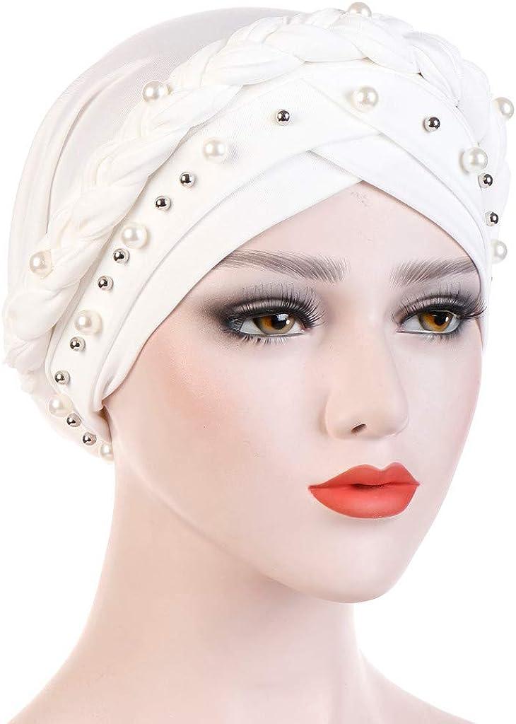 Miss Fortan Turbante Capelli Donne Perlina Tinta Unita Musulmano Cappello di Chimica del Cancro Sciarpa Hijab Copricapo Islamico Headwrap cap Accessori per lAbbigliamento