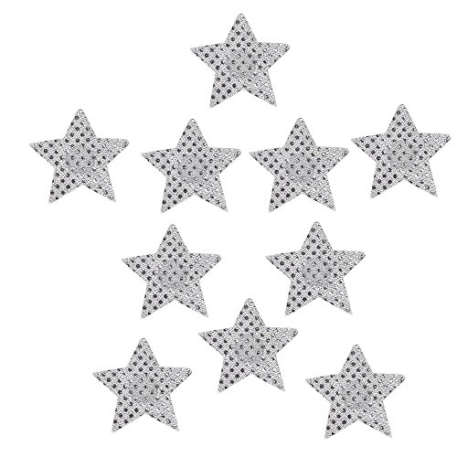 Silvery Star (Ypser Multi Colors Nipple Cover Satin Pasties Disposable Adhesive Breast Petals(5 Pairs Star Glitter-Silvery))