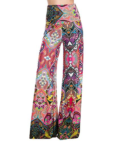 Uptown Apparel Womens Fold Over Waist Wide Leg Palazzo Pants (Coral Moroccan, M)