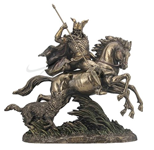 Veronese Design Odin Riding Sleipnir Sculpture Followed by Wolf