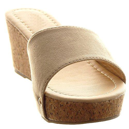Sopily - Zapatillas de Moda Sandalias Zapatillas de plataforma Tobillo mujer tachonado Talón Plataforma 8 CM - Beige