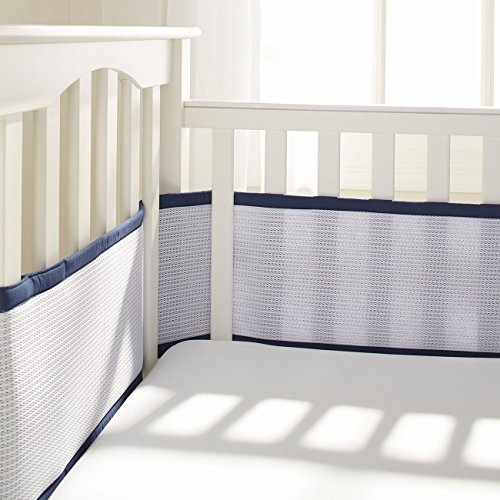 BreathableBaby Deluxe Breathable Mesh Crib Liner, Navy by BreathableBaby