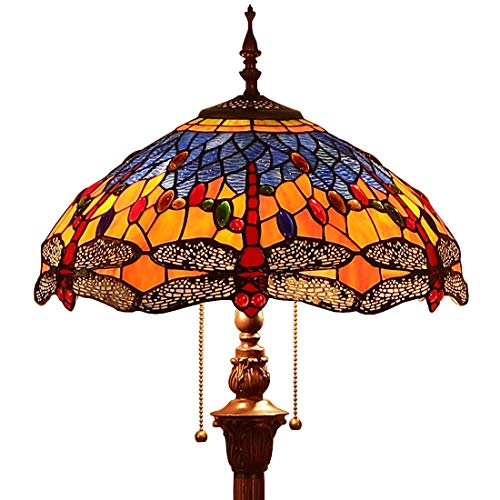 Bieye L10703 Dragonfly Tiffany Style Stained Glass Floor Lamp with 16 Inch Wide Handmade Lampshade Metal Base for Living Room Bedroom, Orange Blue, 65 Inch - Stained Inch 16 Glass Lamp