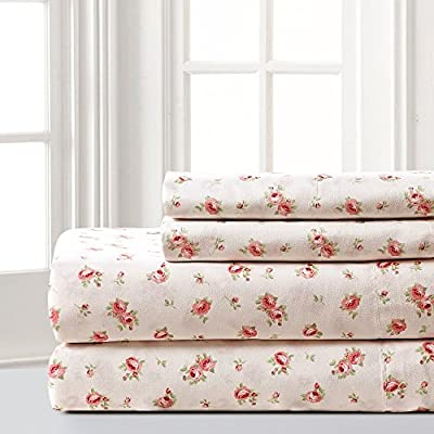 Amrapur Microfiber Sheet Set | Luxuriously Soft 100% Microfiber Rose Printed Bed Sheet Set with Deep Pocket Fitted Sheet, Flat Sheet and 2 Pillowcases , 4 Piece Set,  Queen - SET INCLUDES: (1) Flat sheet, (1) Fitted sheet, (2) Pillowcases. MATERIAL: Made with 100% microfiber polyester brushed yarns. FEATURES: The microfiber brushed yarns are luxuriously soft and feel like high thread count sheets. Each piece is printed with a classic, elegant Rose pattern. - sheet-sets, bedroom-sheets-comforters, bedroom - 51hnIlmhlgL. SS400  -
