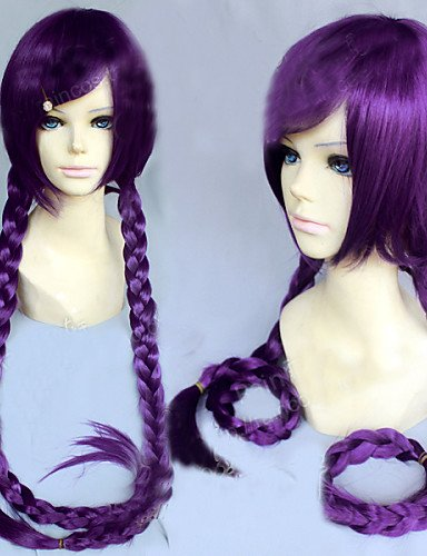 [Wigs have an attractive convenience fashion Angelaicos Women Danganronpa Dangan-Ronpa Toko Fukawa Girl Long Purple Braids Costume Halloween Cosplay] (Halloween Costumes Elvira)