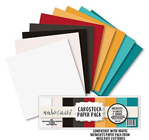 カード用紙パック – マジックモーメント – 32シート ソリッドコアテクスチャードカードストック – カスタムカラーマッチングデザイン – カード作成クラフトスクラップブック – Miss Kate Cuttables B07P5HC9NS