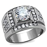 Men's Stainless Steel Round Clear Cubic Zirconia Cluster Wedding Band Ring