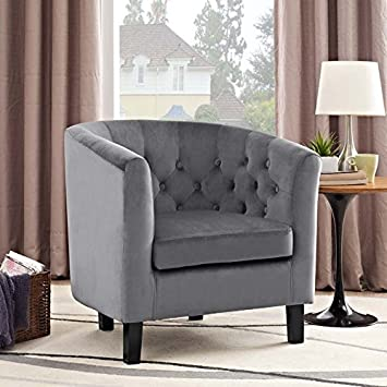 Modway Prospect Upholstered Velvet Contemporary Modern Accent Arm Chair in Gray