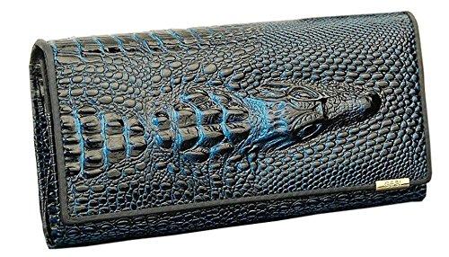 Zando Womens Embossed Alligator Leather Bifold Wallet Holder Clutch Long Purse Blue - Alligator Breast Pocket Wallet