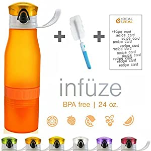 Real Zeal Fruit Infuser Flip-Top BPA Free Water Bottle with Unique Fruit Chamber and Integrated Juicer, 24 oz - Orange