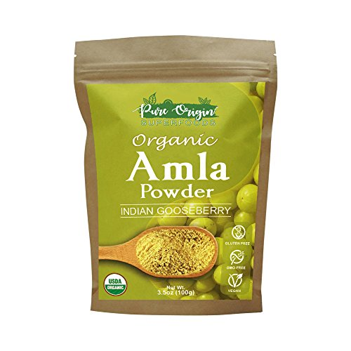 Certified Organic AMLA Powder 3.5 Oz, USDA Organic. Natural Vitamin C and Antioxidants. Raw Whole Superfood. 100% All Natural, Pure and Fresh. No GMO. Gluten Free by Pure Origin SuperFoods