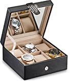 Glenor Co Watch Box for Women - 6 Slot Classic Watch Case Display Organizer, with Modern Buckle Closure for Womens Jewelry Watches, Women's Storage Boxes Holder Boasts Large Mirror - PU Leather Black