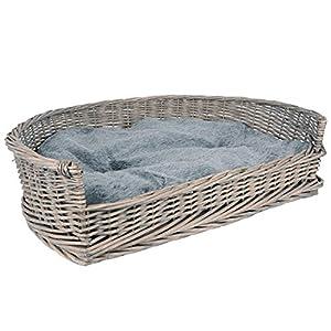 RM E-Commerce – Cama para perros con cesta de mimbre, tamaños S-XL, con cojín gris, para perros grandes y pequeños