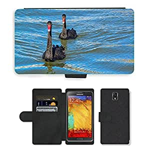 CARD POCKET BOOK CASE PU LEATHER CASE // M00148135 Cisne negro australiano Cisne Negro // Samsung Galaxy Note 3 III N9000 N9002 N9005