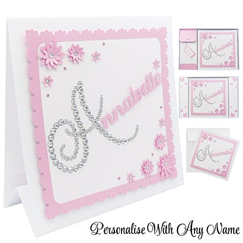 Birthday Card For Her Personalised Pink 3D Luxury Diamond Crystals Daughter Granddaughter
