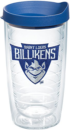 - Tervis 1227548 Saint Louis Billikens Primary Logo Tumbler with Emblem and Blue Lid 16oz, Clear