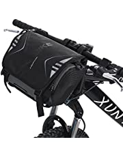 Dioche Bicicleta Bolsa para Manillar, Impermeable Alforjas Bolsa Moto Bicicleta Manillar Montaje Soporte Impermeable Solo Bolso de Hombro(Black)