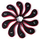 10L0L Neoprene Zippered Golf Club Head Iron Covers - Set of 10 (black and red)