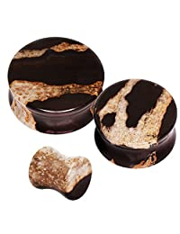 Pair of Natural African Zebra Stone Saddle Plug // Choose Size //