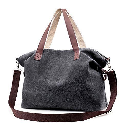 Women's Handbags,LOSMILE Shoulder Bags Top Handle Beach Tote Purse Crossbody Bag (Black)
