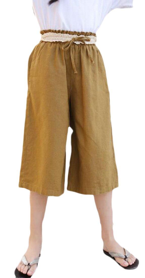 Joe Wenko JWK Girl's Breathable Capri Pants Casual Summer Wide Leg High Waist Pants Ginger Yellow 10/12