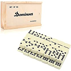 Dominó Juego de juego, doublefun clásica juego de mesa Juego de dominó con Spinner para niños adultos, 55 Pcs