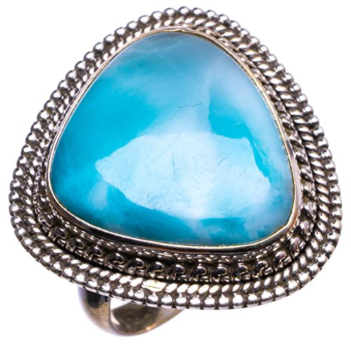 StarGems(tm) Natural Caribbean Larimar Handmade Unique 925 Sterling Silver Ring, US size 7.5 X1631 (Italian Stone Tm Ladies)